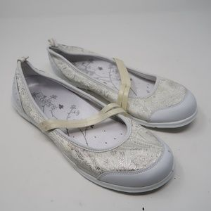 Womens White Sketchers Floral Slip On Loafers 8